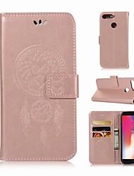 Недорогие -Кейс для Назначение Huawei Y6 (2018) Кошелек / Бумажник для карт / со стендом Чехол Сова Твердый Кожа PU для Huawei Y6 (2018)