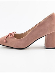 baratos -Mulheres Sapatos Pele de Carneiro Outono Conforto Saltos Salto Robusto Azul / Rosa claro / Khaki