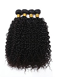 cheap -Indian Hair Curly Natural Color Hair Weaves / Extension / Bundle Hair 4 Bundles 8-28 inch Human Hair Weaves Machine Made Best Quality / For Black Women / 100% Virgin Natural Black Human Hair