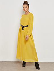baratos -Mulheres Moda de Rua / Sofisticado Reto / Bainha Vestido Sólido Longo