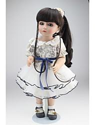 billige -NPKCOLLECTION Ball-joined Doll Country Girl 18 inch Fuld krops silicone Silikone - Sødt Børnesikker Ikke Giftig Fødselsdag Kunstig implantation Blå øjne Tippede og forseglede negle Børne Pige Legetøj