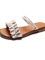 baratos -Mulheres Sapatos Camurça Verão Conforto Sandálias Caminhada Sem Salto Dedo Aberto Rendado Preto / Verde / Khaki