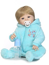 baratos -NPKCOLLECTION Bonecas Reborn Bebês Meninos 24 polegada Silicone de corpo inteiro / Silicone / Vinil - realista, Implantação artificial olhos azuis de Criança Para Meninos Dom