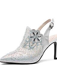 abordables -Mujer Zapatos Piel de Oveja Verano Confort Tacones Tacón Stiletto Dedo Puntiagudo Purpurina Blanco / Negro / Champaña / Fiesta y Noche