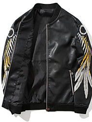 cheap -Men's Basic Leather Jacket - Contemporary, Print