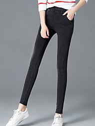 abordables -Mujer Tallas Grandes Alta cintura Algodón Pitillo Chinos Pantalones - Un Color / Otoño / Trabajo