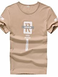 economico -T-shirt - Taglie forti Per uomo Alfabetico Rotonda - Cotone / Manica corta