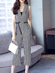 economico -Per donna Moda città / sofisticato Tuta - Con fiocco, A strisce