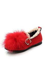 cheap -Girls' Shoes Polyester / Faux Fur Winter Comfort Flats Walking Shoes for Kids Black / Brown / Red
