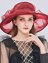 cheap -Women's Party / Holiday Bucket Hat / Floppy Hat / Straw Hat - Patchwork Ruffle