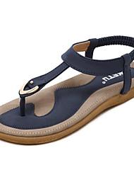 baratos -Mulheres Sapatos Couro Sintético Primavera Verão Gladiador Sandálias Sem Salto Dedo Aberto Botão Rosa Claro / Khaki / Azul Real