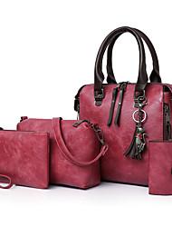 baratos -Mulheres Bolsas PU Conjuntos de saco Conjunto de bolsa de 4 pcs Ziper / Mocassim Cinzento / Marron / Vinho