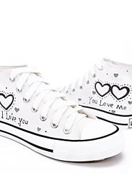 abordables -Mujer Zapatos Tela Primavera / Verano Vulcanizado Zapatos Zapatillas de deporte Tacón Plano Dedo redondo Blanco / Negro / Eslogan