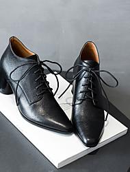 povoljno -Žene Cipele Mekana koža Jesen Udobne cipele / Čizmice Čizme Kockasta potpetica Čizme gležnjače / do gležnja Crn / Braon