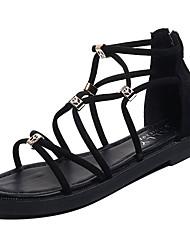 お買い得  -女性用 靴 PUレザー 春夏 アンクルストラップ サンダル フラットヒール ブラック / グレー
