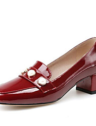 cheap -Women's Shoes Patent Leather Spring & Summer Mary Jane Heels Chunky Heel Square Toe Imitation Pearl Black / Wine
