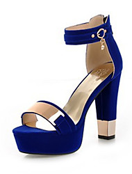 cheap -Women's Shoes Nubuck leather Spring & Summer Basic Pump Sandals Chunky Heel Open Toe Sequin / Buckle Black / Red / Blue / Wedding