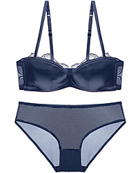 cheap -Women's Demi-cup Bras & Panties Sets Push-up / Lace Bras / Underwire Bra - Solid Colored / Jacquard / Embroidered