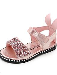 abordables -Fille Chaussures Polyuréthane Eté Confort Sandales Marche Paillette Brillante / Scotch Magique pour Enfants Noir / Argent / Rose