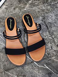 baratos -Mulheres Sapatos Couro Sintético Verão Conforto Sandálias Salto Plataforma Preto / Bege / Verde