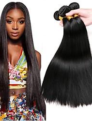 baratos -3 pacotes Cabelo Malaio Liso Cabelo Humano Cabelo Humano Ondulado / Extensor 8-28 polegada Preta Tramas de cabelo humano Fabrico à Máquina Clássico / Natural / Melhor qualidade Extensões de cabelo