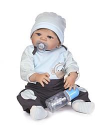 Недорогие -NPKCOLLECTION NPK DOLL Куклы реборн Мальчики 24 дюймовый Полный силикон для тела Винил - Новорожденный как живой Искусственные имплантации Голубые глаза Детские Мальчики / Девочки Игрушки Подарок