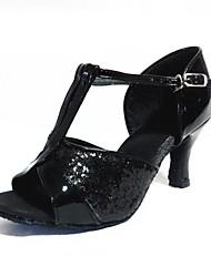 Недорогие -Жен. Обувь для латины Лакированная кожа Сандалии / На каблуках Планка Тонкий высокий каблук Персонализируемая Танцевальная обувь Черный