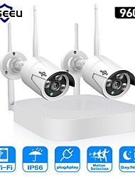 cheap -Hiseeu Wireless CCTV camera System 960P 4ch 1.3MP IP Camera waterproof outdoor P2P Home Security System video Surveillance Kits