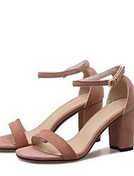 abordables -Mujer Zapatos Ante Verano Confort Sandalias Tacón Cuadrado Punta abierta Hebilla Gris / Amarillo / Almendra