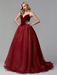 cheap -Ball Gown Strapless Sweep / Brush Train Tulle / Velvet Prom / Formal Evening Dress with Cascading Ruffles by TS Couture®