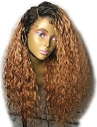 cheap -Virgin Human Hair Lace Front Wig Brazilian Hair Curly Wig Layered Haircut 150% Ombre Hair / Dark Roots Auburn Women's Short / Long / Mid Length Human Hair Lace Wig