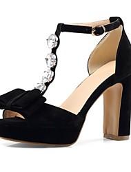Недорогие -Жен. Обувь Полиуретан Лето Удобная обувь Сандалии На толстом каблуке Открытый мыс Лак Черный / Пурпурный / Миндальный