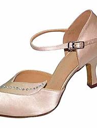 baratos -Mulheres Sapatos de Dança Latina Cetim Salto Salto Alto Magro Sapatos de Dança Preto / Amêndoa / Espetáculo / Couro / Ensaio / Prática