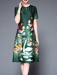 levne -Dámské Základní Pouzdro Šaty - Květinový Délka ke kolenům