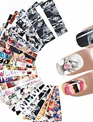 baratos -24 pcs Adesivos arte de unha Manicure e pedicure Colorido Decalques de unha Casamento / Festa / Dia a Dia