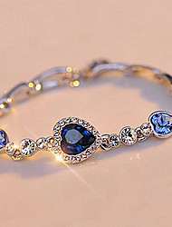 cheap -Women's Crystal Single Strand Chain Bracelet - Heart Simple, Basic Bracelet Green / Pink / Light Blue For Gift / Street