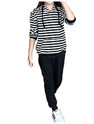 cheap -Kids Girls' Street chic / Punk & Gothic Sports Black & White Striped Long Sleeve Cotton Clothing Set
