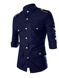 Недорогие -Муж. Рубашка Классический / Армия Однотонный