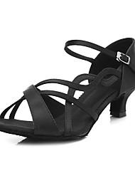 Недорогие -Жен. Обувь для латины Сатин Сандалии / На каблуках Пряжки Тонкий высокий каблук Персонализируемая Танцевальная обувь Черный