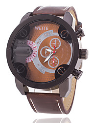 baratos -Homens Relógio Esportivo Mostrador Grande PU Banda Casual / Fashion Preta / Marrom