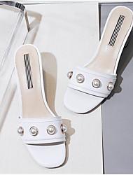 cheap -Women's Shoes Nappa Leather Summer Comfort Sandals Chunky Heel Open Toe Imitation Pearl White / Almond