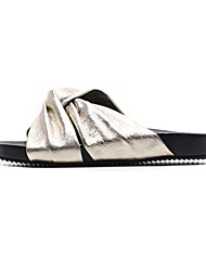 cheap -Women's Shoes Cowhide Summer Comfort Slippers & Flip-Flops Flat Heel Gold / Silver