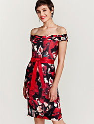 abordables -Femme Soirée Slim Moulante Robe - Imprimé, Fleur Epaules Dénudées Mi-long / Printemps / Eté / Motifs floraux