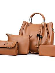 baratos -Mulheres Bolsas PU Conjuntos de saco Conjunto de bolsa de 4 pcs Mocassim Rosa / Cinzento / Marron