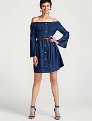 cheap -Women's Denim Dress - Solid Color Strapless