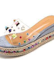 baratos -Mulheres Sapatos Couro Ecológico Verão Chanel Sandálias Salto Plataforma Tachas Bege / Roxo / Azul