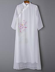 Недорогие -Жен. Прямое Платье - Цветочный принт Средней длины