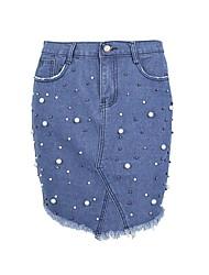 お買い得  -女性は綿を非対称のラインスカートを出て行く - 固体色のビーズ