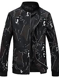 cheap -Men's Plus Size Jacket - Floral Print Stand / Long Sleeve