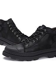 Недорогие -Муж. Армейские ботинки Наппа Leather Осень Удобная обувь Ботинки Ботинки Черный